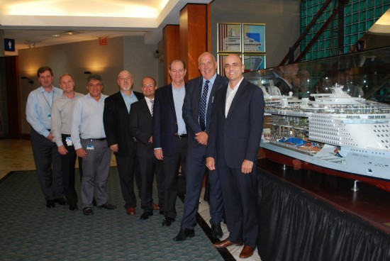 Pictured at the signing of the turbocharger contract (from right to left): Gregory M. Purdy (SVP, Marine Operations, Royal Caribbean International), Wayne Jones (SVP MAN PrimeServ), Carlos Pedercini (VP, Marine Operations & Global Nautical Services, Royal Caribbean International), Michael Kontny (Director Sales, MAN PrimeServ), Evangelos P. Sampanidis (Associate VP, Fleet Management, Celebrity), Leonidas Lavdas (Fleet Director, Celebrity), Kimmo Heikkila (Director, Powerplant & Technical Systems) , Stiliyan Dimov (Manager, Global Marine Operations)