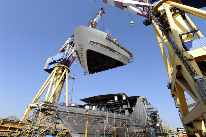 Costa Diadema under construction at Fincantieri