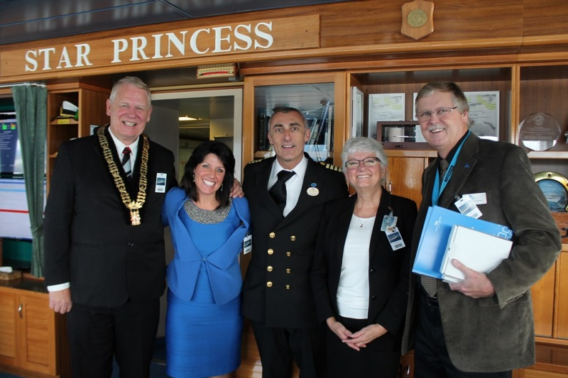 Participating in the welcoming ceremonies for the Star Princess last fall were (from left) Mayor Bill McKay; Trish Smith, tourism destination specialist; Captain Michele Tuvo of the Star Princess; Moira Jenkins, chair of the Port Authority; and Bernie Dumas, president and CEO of the Nanaimo Port Authority.