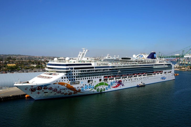 The Norwegian Pearl docked at the Port of Los Angeles
