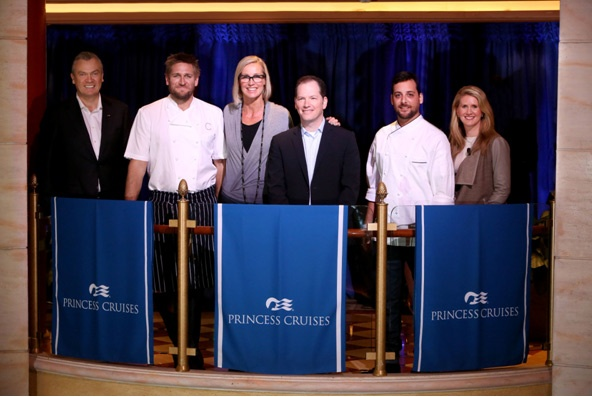 Stein Kruse, CEO Princess Cruises (left) and Jan Swartz, President Princess Cruises (right) joined by partners Chef Curtis Stone, Designer Candice Olson, Sleep Expert Dr. Michael Breus and Chef Ernesto Uchimura who were together to announce the Come Back New Promise.