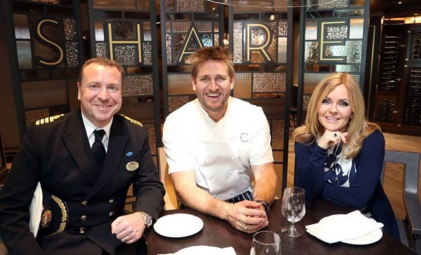 Award-winning Chef Curtis Stone was joined by Princess Cruises' Celebrations Ambassador Jill Whelan and Captain Craig Street for the grand opening of SHARE by Curtis Stone, his first restaurant at sea, aboard Ruby Princess.