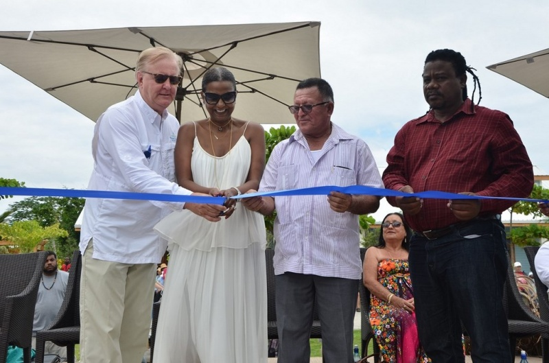 Photo L to R: Colin Murphy, senior vice-president of destination and strategic development for NCLH; Mrs. Kim Simplis Barrow, Wife of Belize's Prime Minister Dean Barrow; Hon. Manuel Heredia Jr., Minister of Tourism and Civil Aviation for Belize; Hon. Edmond Castro, Minister of State for National Emergency Management for Belize