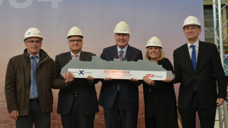 (Photographed from left to right: Jean-Yves Jaouen, Operations Senior Vice President, Harri Kulovaara, EVP New Build and Innovation, Richard D. Fain, Chairman and CEO of Royal Caribbean Cruises, Ltd., Lisa Lutoff-Perlo, Celebrity Cruises President and CEO, Laurent Castaing, General Manager STX France)