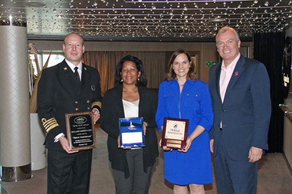 Pictured below at the plaque exchange ceremony on board: Captain Bas Van Dreumel (Master, Nieuw Amsterdam), Kimberly Brandon (Vice President, San Francisco Port Commission), Elaine Forbes (Interim Executive Director, Port of San Francisco), Stein Kruse (CEO, Holland America Group).