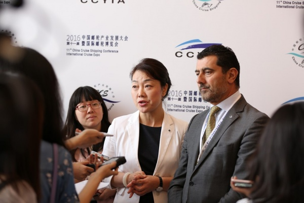 From left: Helen Huang, president, Greater China, MSC Cruises; and Gianni Onorato; president and CEO, MSC Cruises
