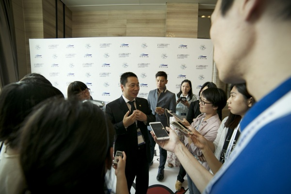 Min Fan, president and CEO, SkySea, takes questions from the media.