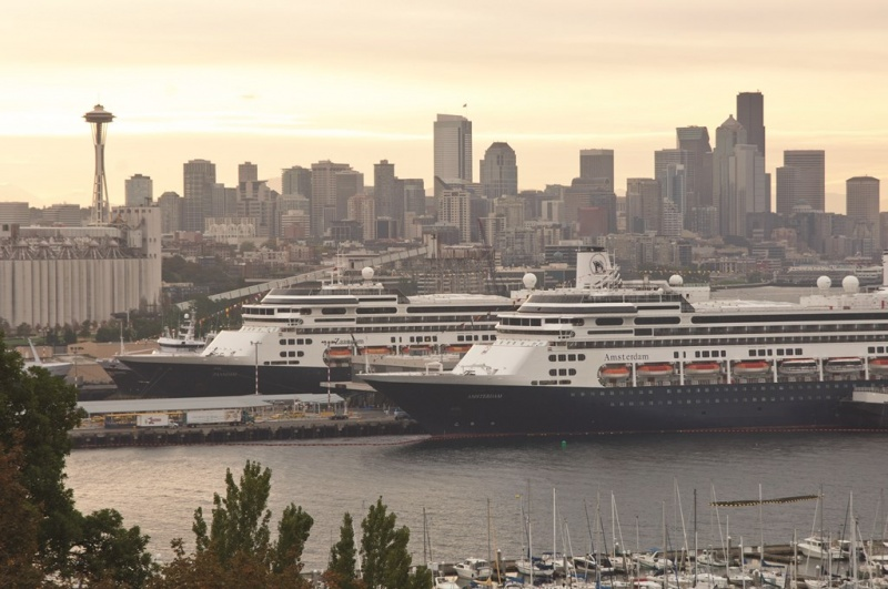 ms Zaandam and ms Amsterdam at the Port of Seattle.