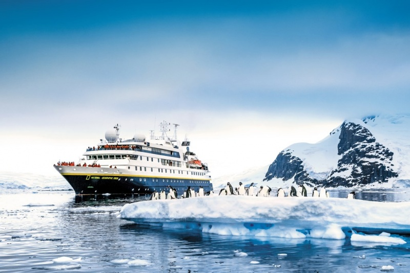 Lindblad Ship in Antarctica