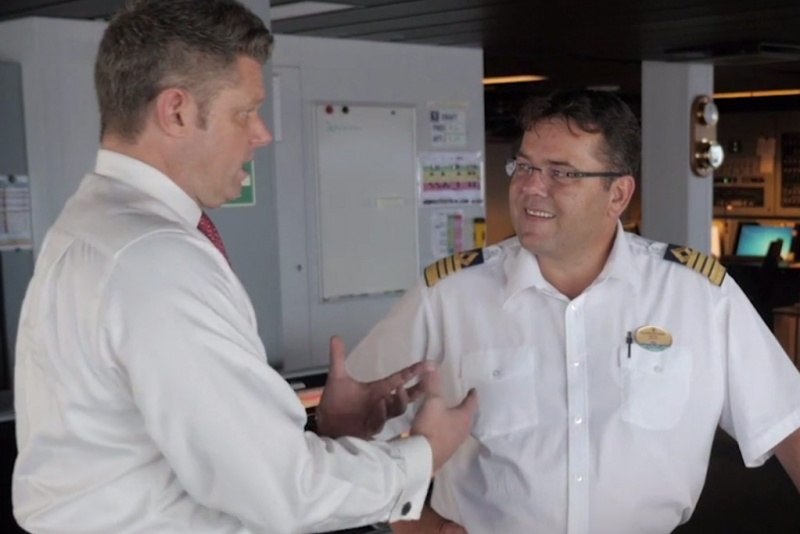 Royal Caribbean's Chief Meteorologist James Van Fleet and Oasis of the Seas Captain Per Kristoffersen collaborate to navigate toward the path of totality for the Great American Eclipse – a celestial phenomenon 99 years in the making.