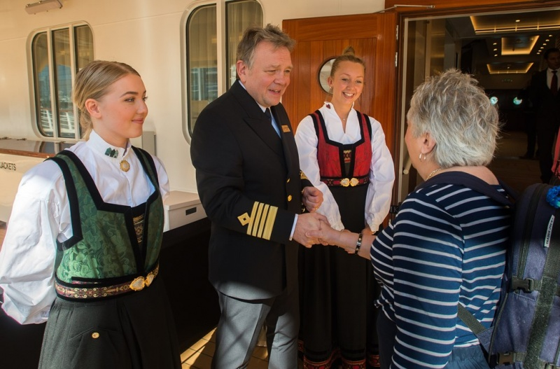 Captain Knutsen Welcomes Guests Aboard the Viking Sun in Miami