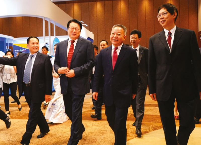 Some of the biggest players in China, from left: Weiheng Zheng, secretary general and vice president, CCYIA; Wenming Hu, chairman, CCYIA and Shipbuilding Industry Corporation; Shen Xiaoming, governor, Hainan Province; and Qiang Wu, chairman of China State Shipbuilding Corporation.