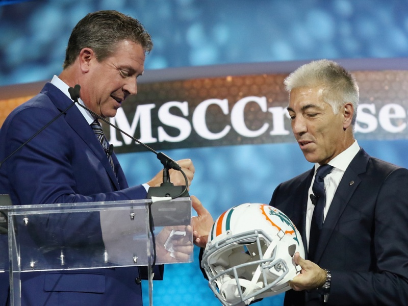 Making a guest appearance at the event was Miami football legend and Hall of Fame quarterback Dan Marino who was with the Miami Dolphins for 17 years (Photo: Aaron Davidson/Getty Images)