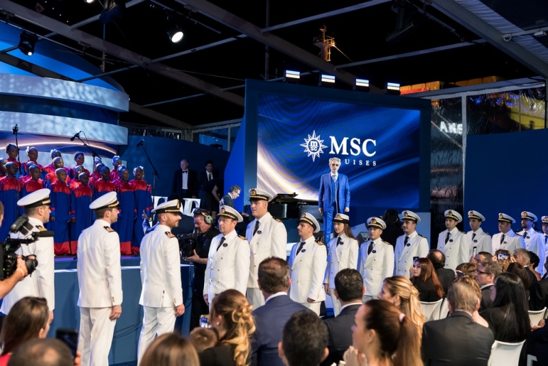 Traditional Crew Parade Welcomes MSC Seaside to the MSC Cruises Fleet (photo: Ivan Sarfatti)
