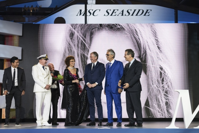 MC Mario Lopez, Captain Scala, Pierfrancesco Vago, Andrea Bocelli and his Pianist Welcome MSC Seaside's Godmother Sophia Loren to the Stage (photo: Ivan Sarfatti)