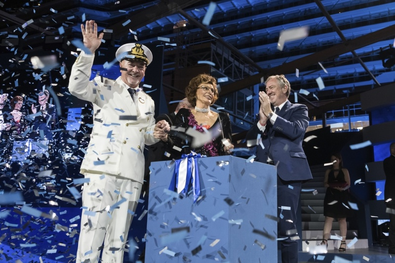 Captain Scala, Sophia Loren and Pierfrancesco Vago Celebrating the Inauguration of MSC Seaside (photo: Ivan Sarfatti)