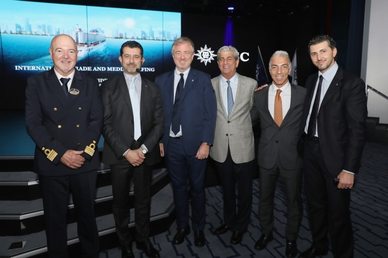 MSC Seaside Master, Pier Paolo Scala, MSC Cruises CEO, Gianni Onorato, MSC Cruises Executive Chairman Pierfrancesco Vago, MSC Cruises USA Chairman, Rick Sasso, MSC Cruises USA Chairman, Roberto Fusaro, MSC Cruises Head of Commercial Services, Achille Staiano. (Photo: Aaron Davidson/Getty Images)