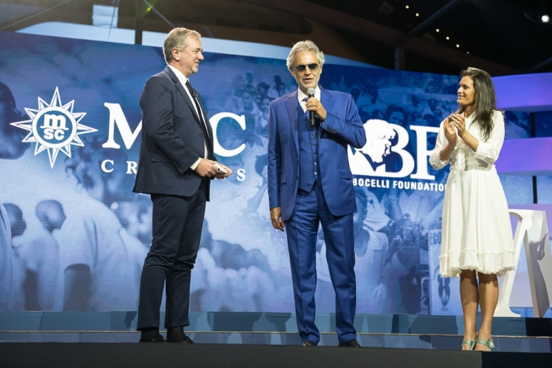 Pierfrancesco Vago, Executive Chairman of MSC Cruises, and Andrea and Veronica Bocelli Present New Partnership with ABF, the Andrea Bocelli Foundation  (photo: Ivan Sarfatti)