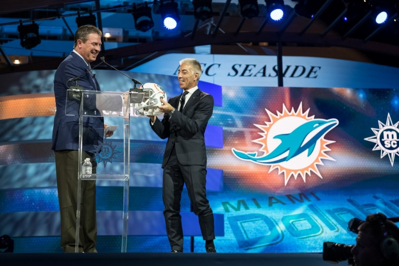Roberto Fusaro, President of MSC Cruises North America, and Legendary Quarterback Dan Marino Present New Partnership with the Miami Dolphins (photo: Ivan Sarfatti)