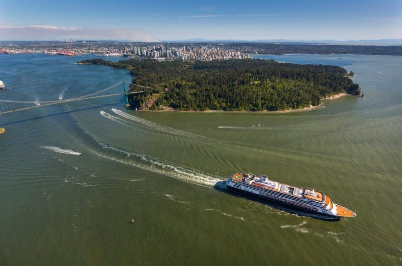 Holland America Line Ship Sails from Vancouver
