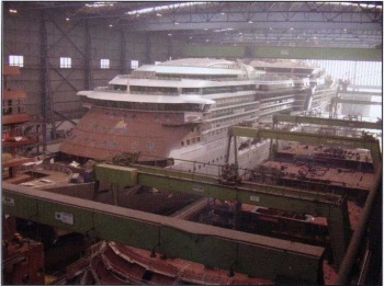 NCLs Norwegian Dawn pictured here under construction in Meyer Werfts covered building dock