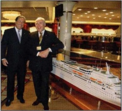 Pier Luigi Foschi chairman and managing director of Costa Crociere right and Micky Arison chairman of Carnival Corporation at the launch of the Costa Europa