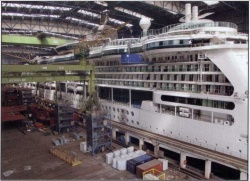 RCIs Brilliance of the Seas just before it left the covered building dock at Meyer Werft