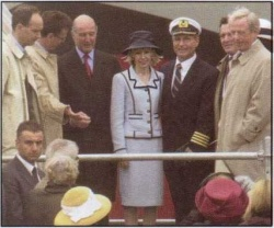 (From left): Lars Clasen, president of Seetours Cruises; Michael Thamm, senior vice president of operations for Seetours; Lord Sterling, chairman of P&O Princess Cruises; Doris Schroder-Kopff, godmother for the AIDAvita and wife of the German federal chancellor; Captain Volker Zausch; Gerhard Schroder, German federal chancellor; and Horst Rahe, chairman of Seetours and a member of the board of P&O Princess