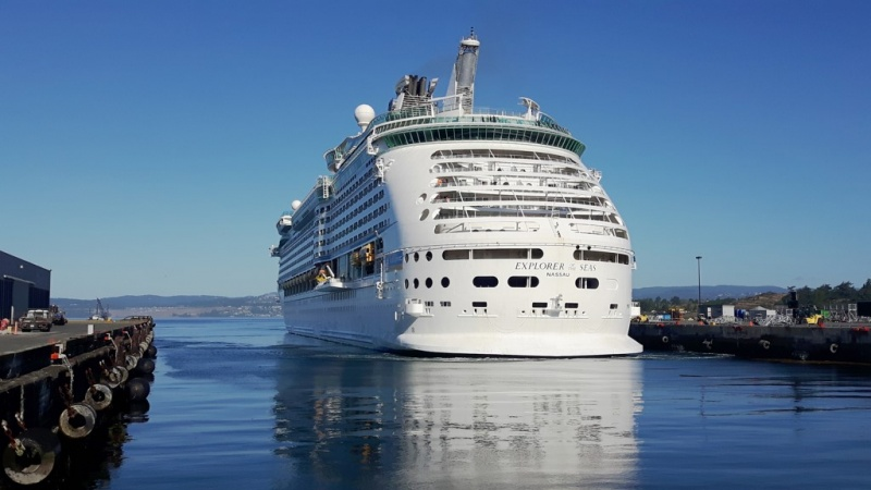 The Explorer of Seas maneuvering alongside at Ogden Point in Victoria