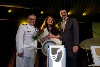 From left: Seabourn Captain Mark Dexter, Sarah Brightman and Seabourn President Richard Meadows