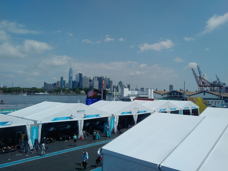 Formula E Paddock with NYC Skyline