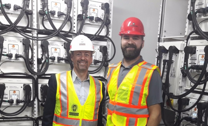 Martial Claudepierre, business development manager, Bureau Veritas with Seaspan's Harly Penner in front of the battery banks on board Seaspan Swift in Vancouver last week.