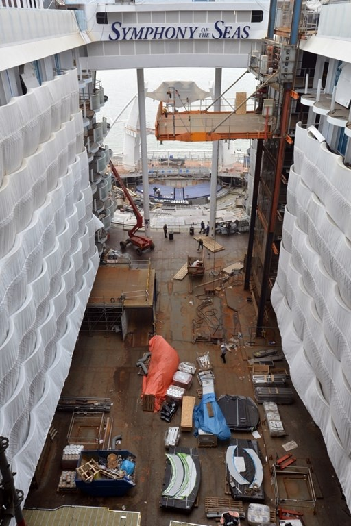 Symphony of the Seas, Royal Caribbean's newest Oasis-class ship, under construction at the STX shipyard in France. The ship is scheduled to be delivered in 2018