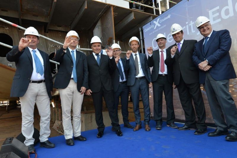 Photographed from left to right: Xavier Leclercq, SVP, Newbuild & Innovation, Royal Caribbean Cruises, Ltd.; Laurent Castaing, General Manager, STX France; Costas Nestoroudis, Captain of Celebrity Edge; Jean-Yves Jaouen, Operations Senior Vice President, STX France; Sebastien Le Boulluec, Project Manager, STX France; Petteri Heimo, Project Manager, Celebrity Edge, Royal Caribbean Cruises Ltd.; Kari Pihlajaniemi, Director, Head of Newbuilding & Innovation Center, Royal Caribbean Cruises Ltd.; and Harri Kulovaara, Executive Vice President New Build and Innovation, Royal Caribbean Cruises, Ltd. Photo courtesy of STX France – Bernard Biger