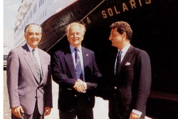 Sun Line was headed up by the Keusseoglou family (Photo: Right: Alex Keusseoglou, president in 1995) and Marriott, at the time, actually had an ownership stake in Sun Line's vessels, and worked closely with the Keusseoglous to build up the brand.