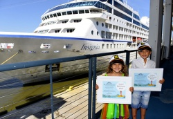 "Oceania Cruises recognized its""Youngest World Cruises,"" Lorenna D'Amore Nogueira, 4, and Henrique D'Amore Nogueira, 6, Wednesday in New York, according to a statement."
