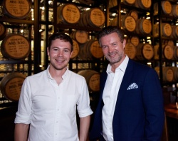 Archie Rose Distilling Co. founder Will Edwards (l) and P&O Cruises President Sture Myrmell