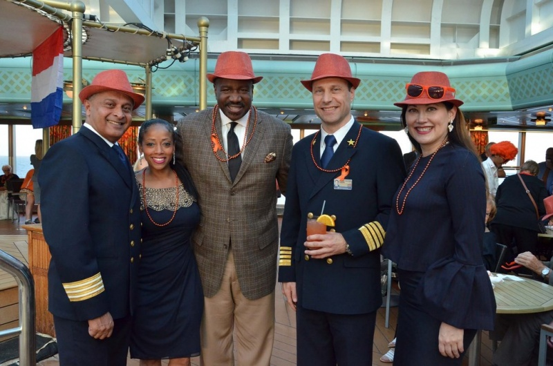 From left: the ship's Hotel Director Prem Kainikkara; Senior Director, Trade Communication and Engagement Denella Ri'chard; Ashford; Captain Michiel Willems; and Vice President of Sales Eva Jenner.