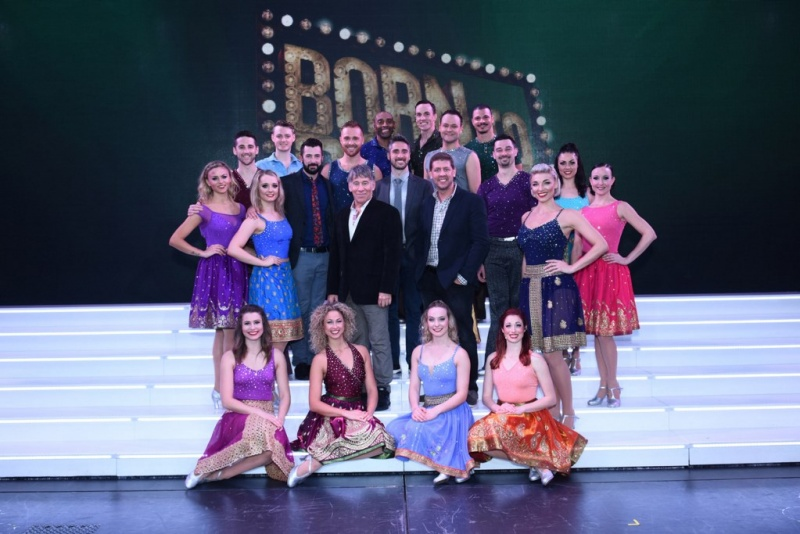 "Stephen Schwartz and Daniel C. Levine, pictured center, along with the ""Born To Dance"" creative team and cast following the New York Premiere on board Regal Princess"