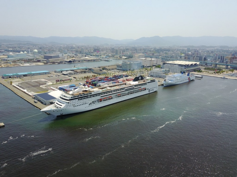 MSC Lirica in Hakata, Japan