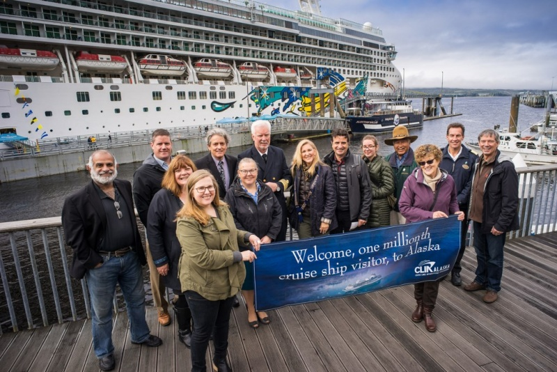 CLIA Alaska President John Binkley, right, and local dignitaries welcomed Candy Borda and family, center, as this year's one millionth cruise ship visitor to Ketchikan on September 25.