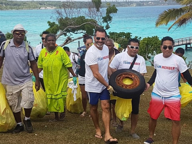 Carnival Spirit's Captain Vittorio Marchi assisting the local community at Lifou, New Caledonia