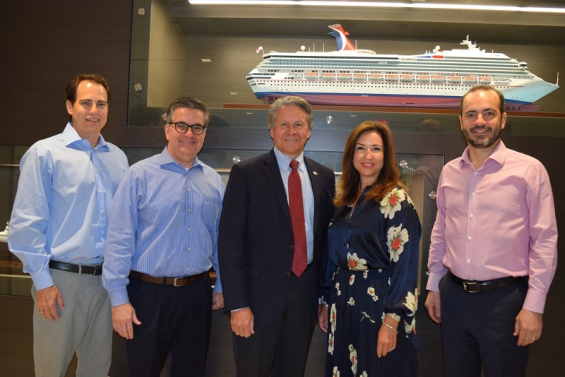 Executives from Carnival and the Canaveral Port Authority are shown here in the cruise line's Miami headquarters following a meeting to discuss the deployment of a new 180,000-ton ship, Carnival's largest, to Port Canaveral.  From left:  Carnival Corporation VP Port and Destination Development David Candib, Carnival Cruise Line EVP Professional Services James Heaney, Canaveral Port Authority Port Director and CEO Capt. John Murray, Carnival Cruise Line President Christine Duffy, and Carnival Cruise Line COO Gus Antorcha.