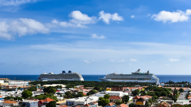 The Britannia is joined by the Adventure of the Seas as two big ships dock in Curacao.