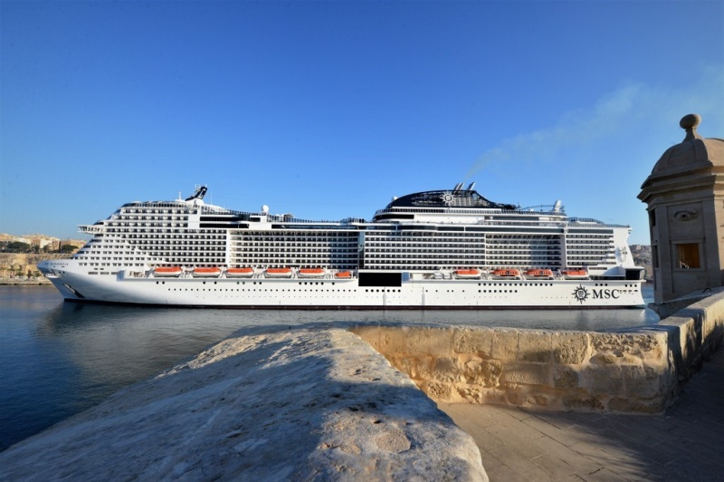 MSC Meraviglia on its maiden call at Valletta Cruise Port Malta