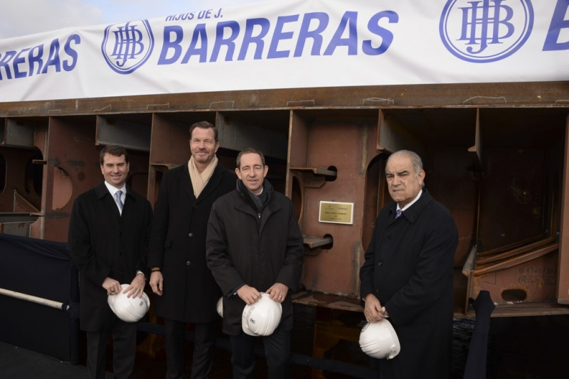 From left to right at the keel laying: Timothy Grisius, Fredrik Johansson, Douglas Prothero, José García Costas