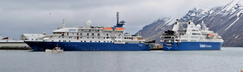 The Sea Spirit from Poseidon Expeditions is joined by Iceland Pro Cruises' Ocean Diamond.