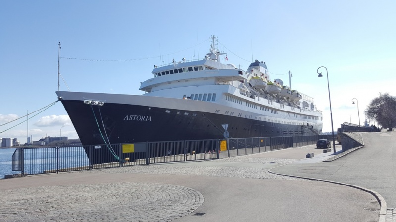 The Astoria docked in Visby on March 31.