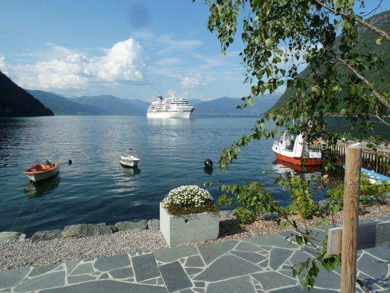 The ultra-luxury Hapag-Lloyd Cruises Europa anchored in Vik
