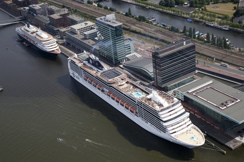 The MSC Magnifica is joined by Holland America's Prisendam on a double call in Amsterdam.